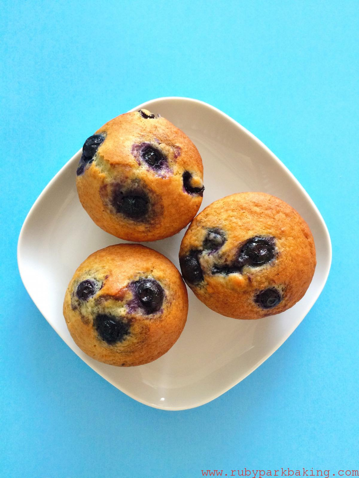 Blueberry muffins, there aren't non butter! on rubyparkbaking.com