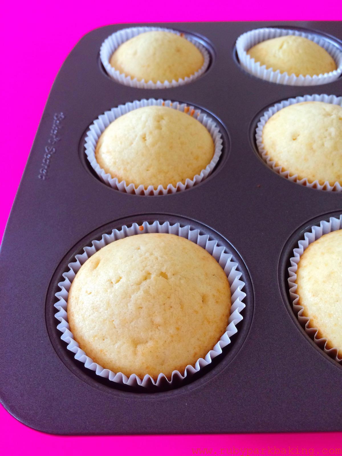 Moist vanilla cupcakes on rubyparkbaking.com
