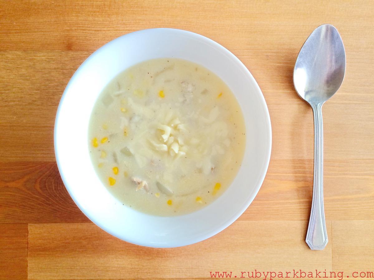 Chicken corn cream chowder on rubyparkbaking.com